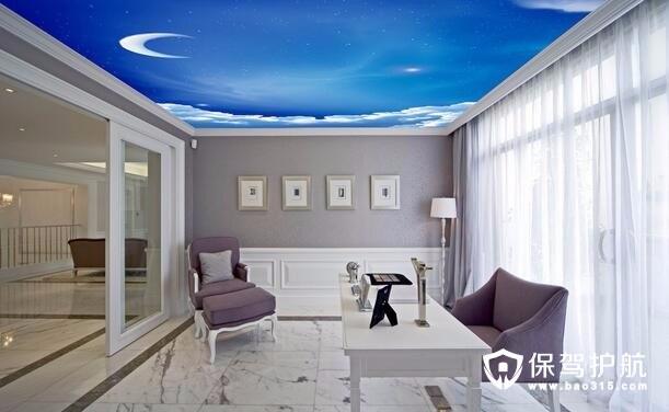 客厅墙顶壁纸装修设计效果图案例