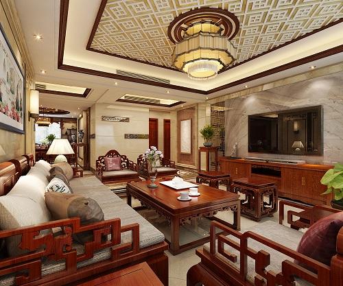 石家庄星河悦城218㎡中式风格装修案例