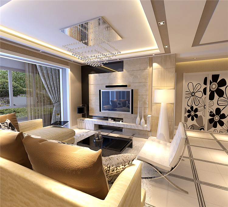《晋级装饰》阳光尚城效果图 140平三居室现代简约风格设计