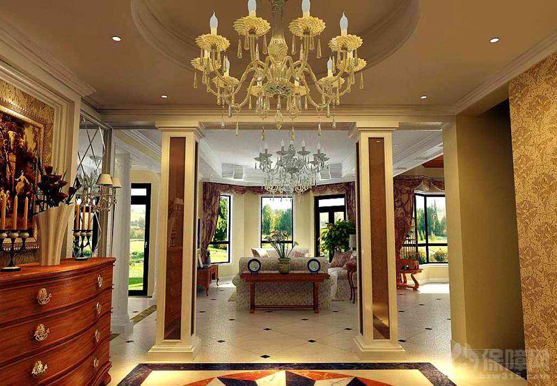 设计思路说明:欧式风格的体现,及书房客厅的混合的搭配,突显业主