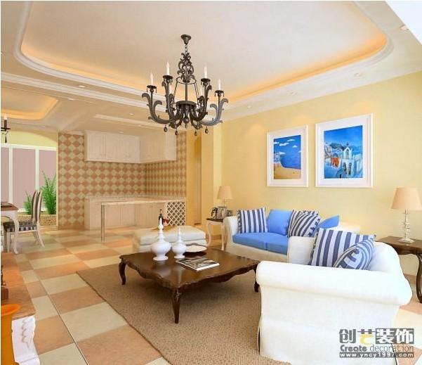 昆明市金色交响90平米地中海风格中户型造价11.5万