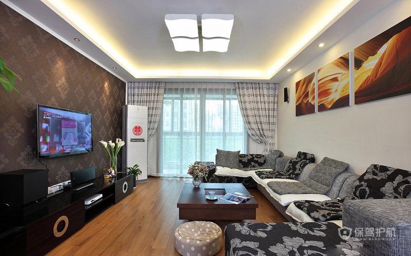 简单即幸福 空间扩容85㎡简约婚房 ,婚房装修,简约风格,现代简约风格,温馨,客厅,客厅沙发,简约客厅,客厅电视背景墙