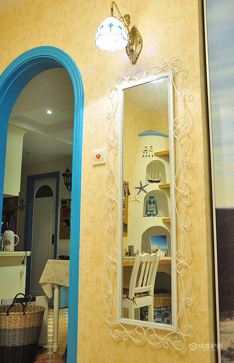 摩洛哥风格小户型别墅客厅拱门隔断效果图