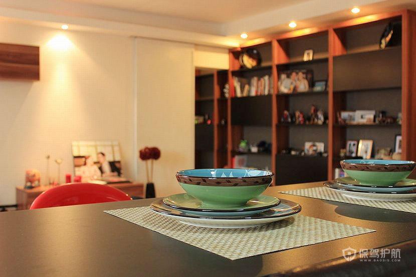两室一厅简约风格20平米客厅置物架软装搭配效果图