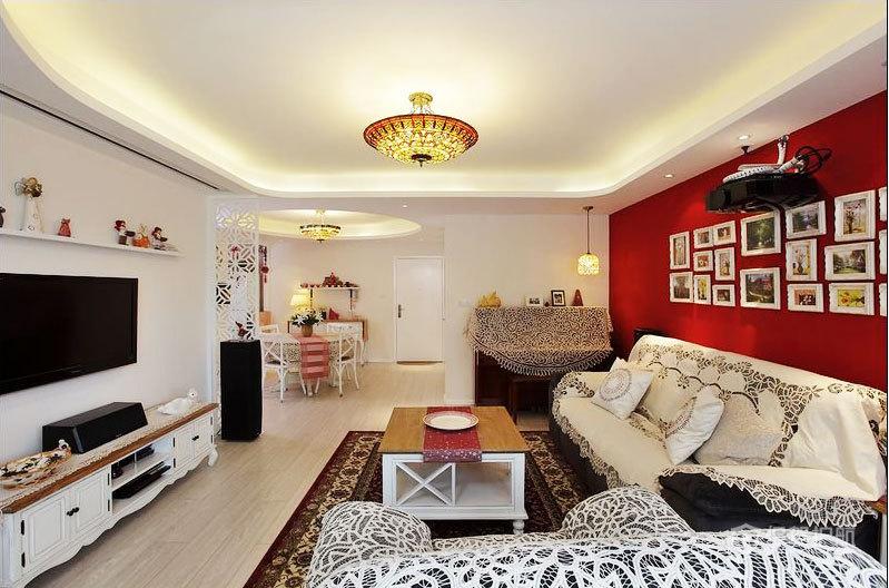 现代风格三室一厅客厅红色墙壁效果图
