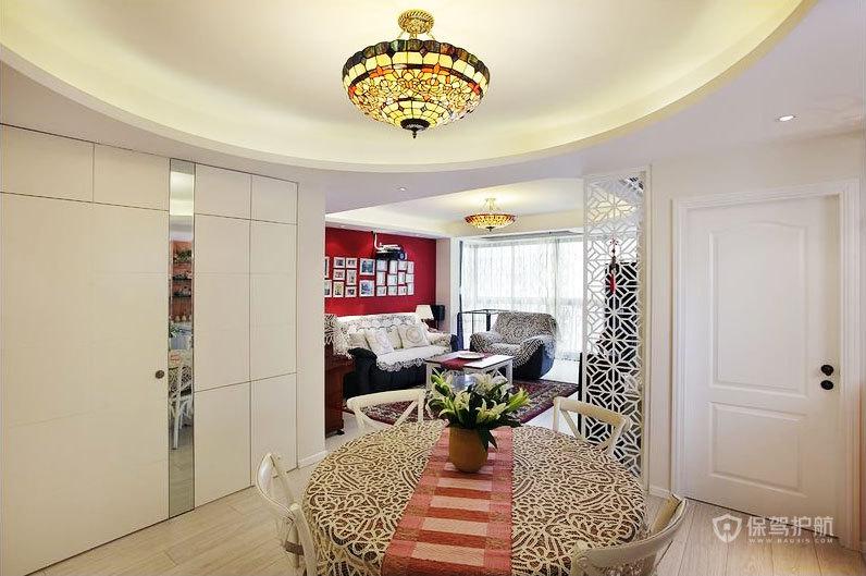 美式风格四室两厅餐厅圆形吊顶装潢效果图
