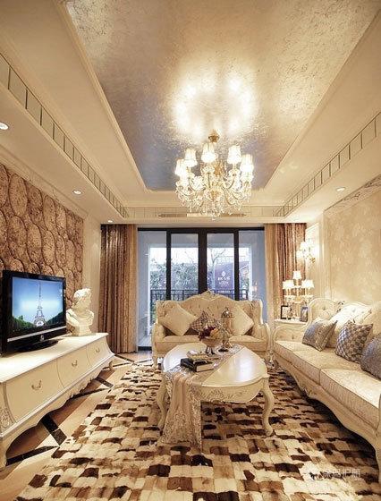 富丽堂皇 现代欧式风格客厅 ,欧式客厅,客厅沙发,客厅灯,客厅,水晶灯,电视柜,茶几