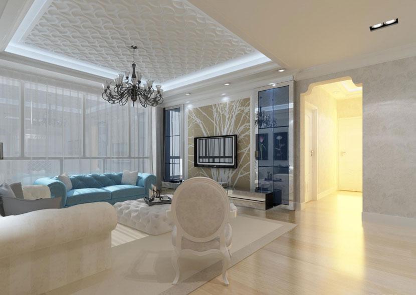 让身心放松  现代欧式风格客厅 ,欧式客厅,客厅沙发,客厅灯,客厅,吊顶,电视背景墙