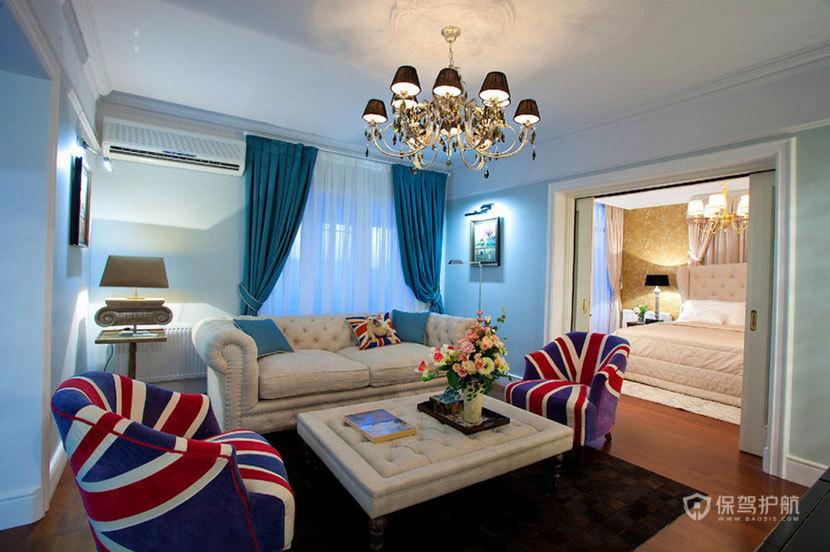 100平英伦风三居室客厅沙发茶几装修效果图