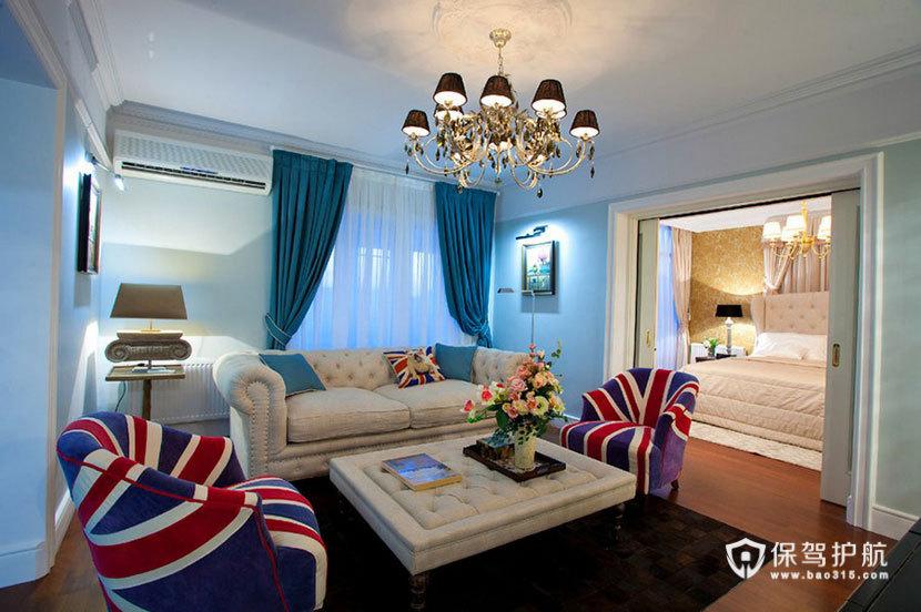 英伦风+艺术风来袭  100平米彰显皇室风范 ,英伦风格,艺术,一室一厅装修,100平米装修,客厅,民族风,沙发,茶几