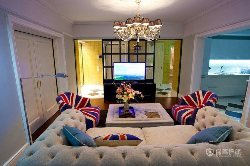 60平英伦风一室一厅客厅吊顶装修效果图