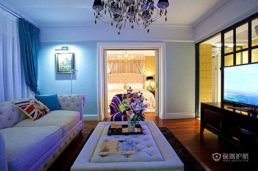 60平英伦风一室一厅客厅装修效果图