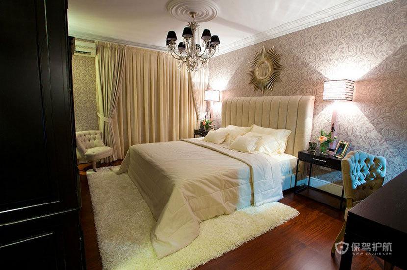 100平巴洛克三居室卧室床头背景墙装修效果图