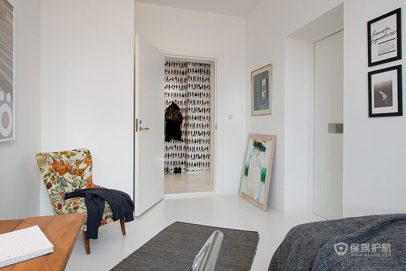 现代风格四室一厅公寓30平米客厅纯白装修效果图