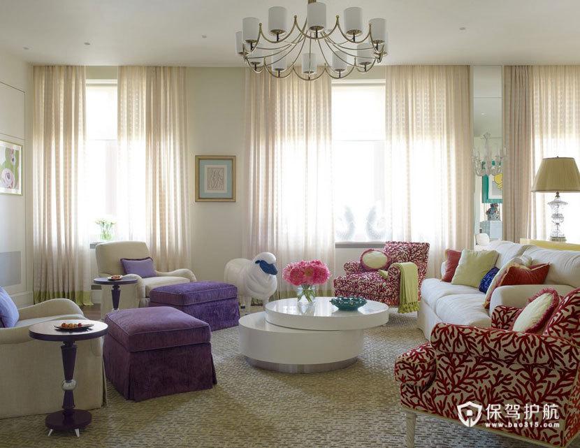 颜色与图案的完美搭配  四口之家的阳光与欢乐 艺术,三室两厅装修,美式风格,客厅