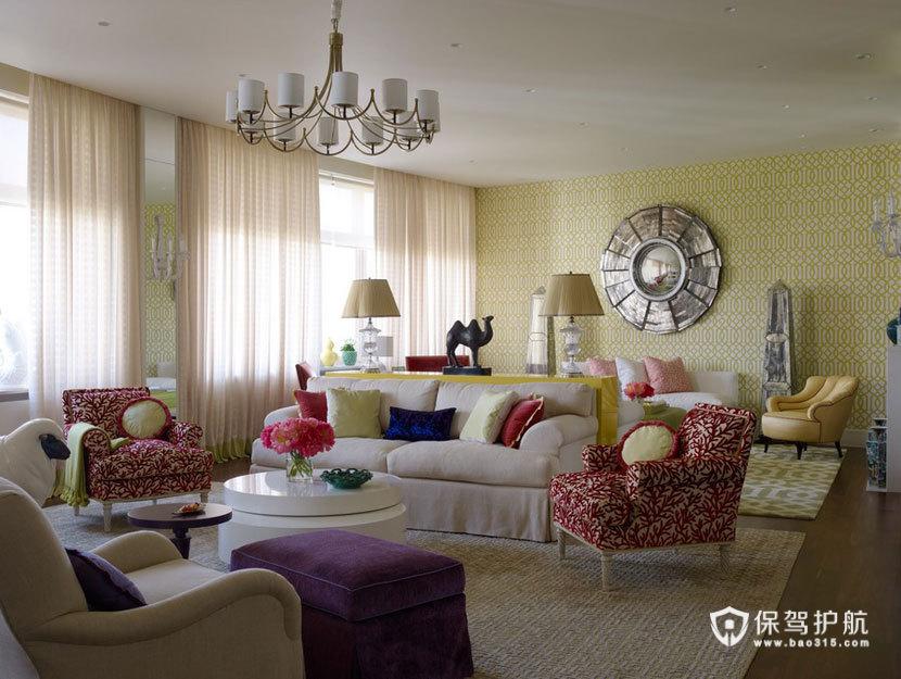 颜色与图案的完美搭配  四口之家的阳光与欢乐 三室两厅装修,美式风格,艺术,浪漫