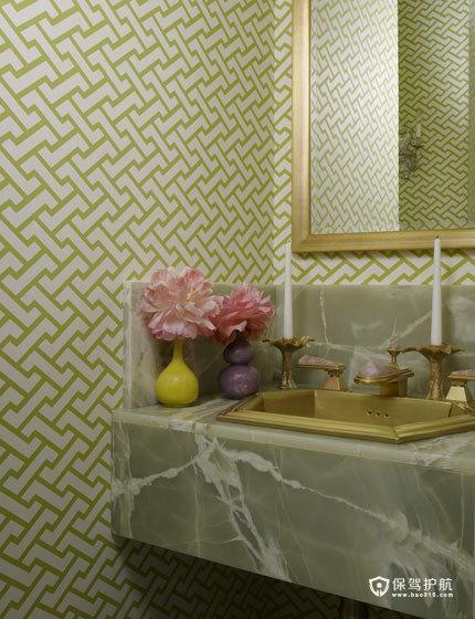 颜色与图案的完美搭配  四口之家的阳光与欢乐 艺术,三室两厅装修,美式风格,洗手台