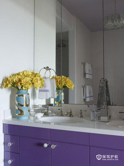 颜色与图案的完美搭配  四口之家的阳光与欢乐 艺术,三室两厅装修,美式风格,洗手台,紫色