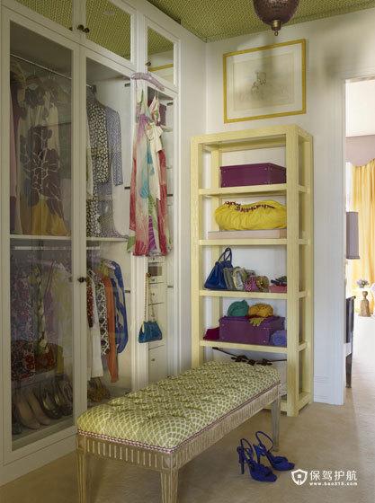 颜色与图案的完美搭配  四口之家的阳光与欢乐 艺术,三室两厅装修,美式风格,衣帽间