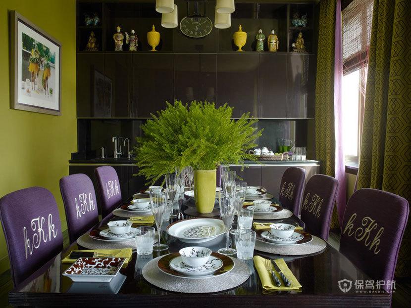 颜色与图案的完美搭配  四口之家的阳光与欢乐 艺术,三室两厅装修,美式风格,餐桌,餐厅