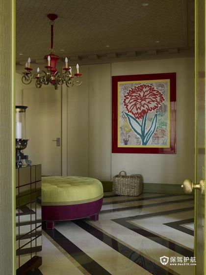颜色与图案的完美搭配  四口之家的阳光与欢乐 艺术,三室两厅装修,美式风格,