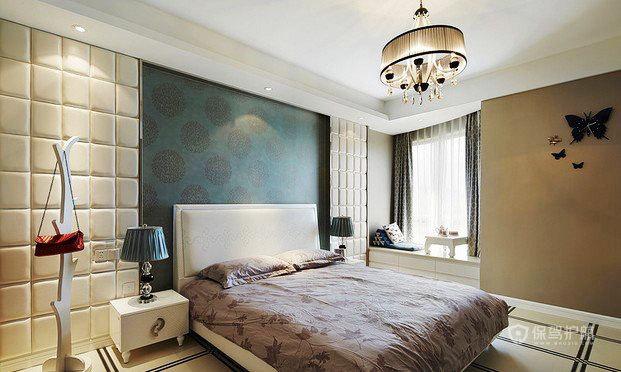 混搭风格两室一厅卧室背景墙壁纸软装效果图