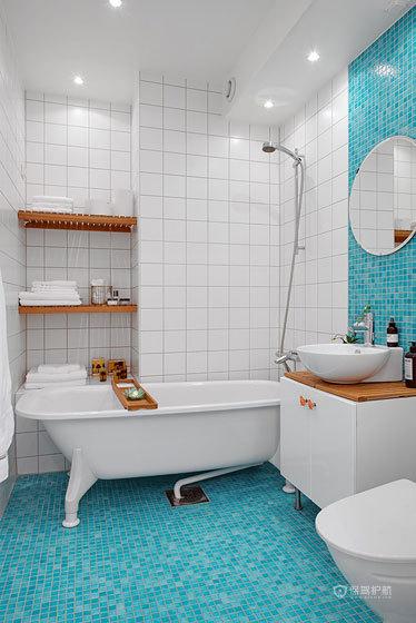 地中海风格跃层10平米卫生间地板蓝色瓷砖效果图
