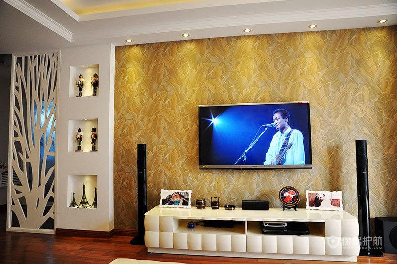 简约欧式二居室客厅电视背景墙装修效果图