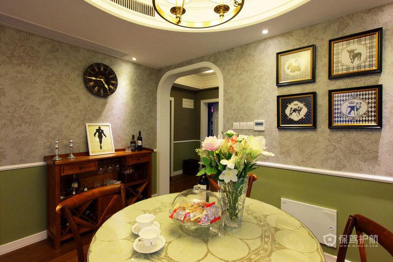 田园英式风格三室一厅10平米餐厅艺术挂画效果图
