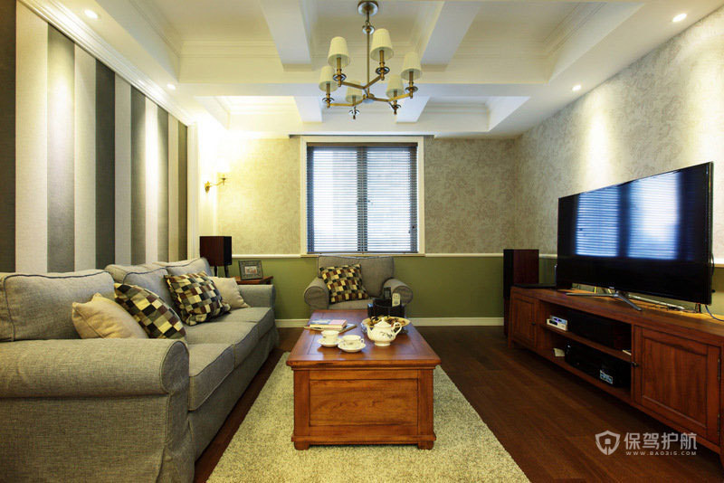 三室两厅现代田园风格20平米客厅装潢效果图