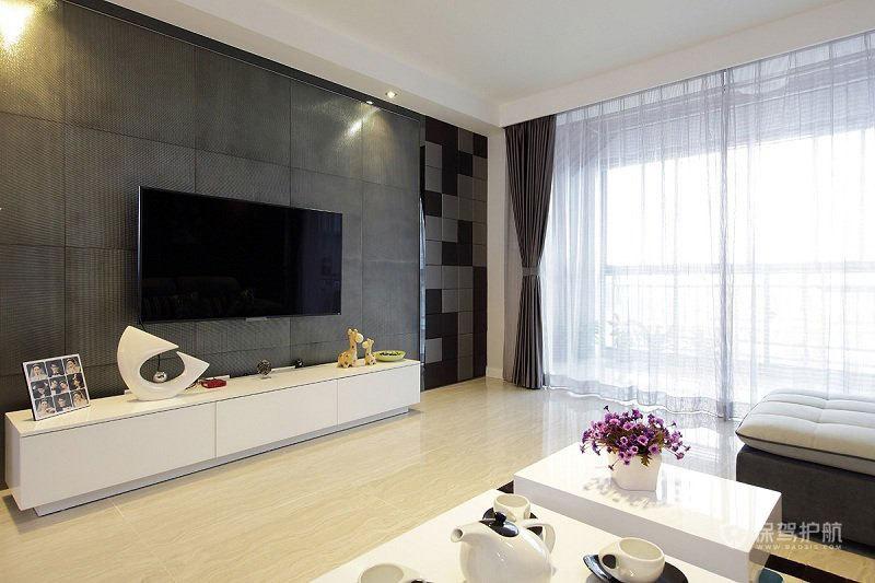 简约低奢客厅电视背景墙装修效果图