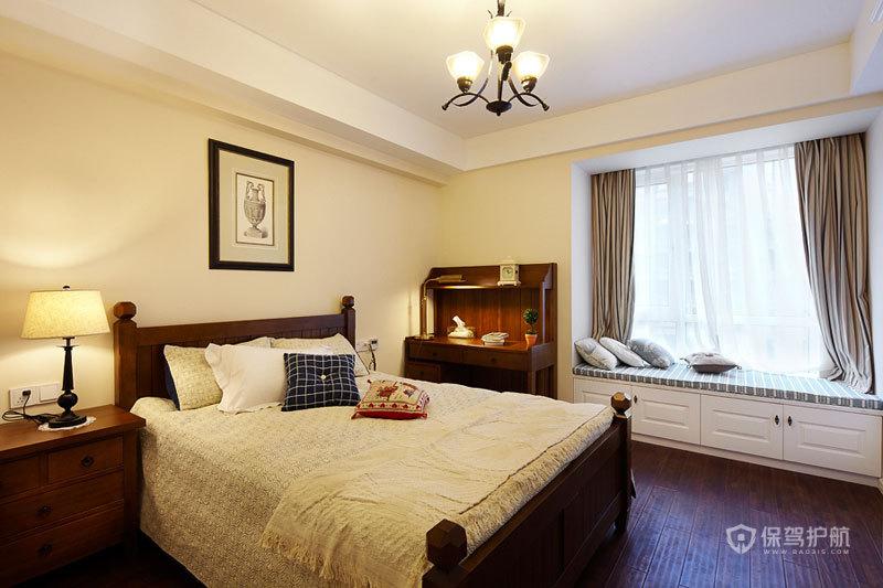 美式风格四室一厅卧室小吊灯装潢效果图