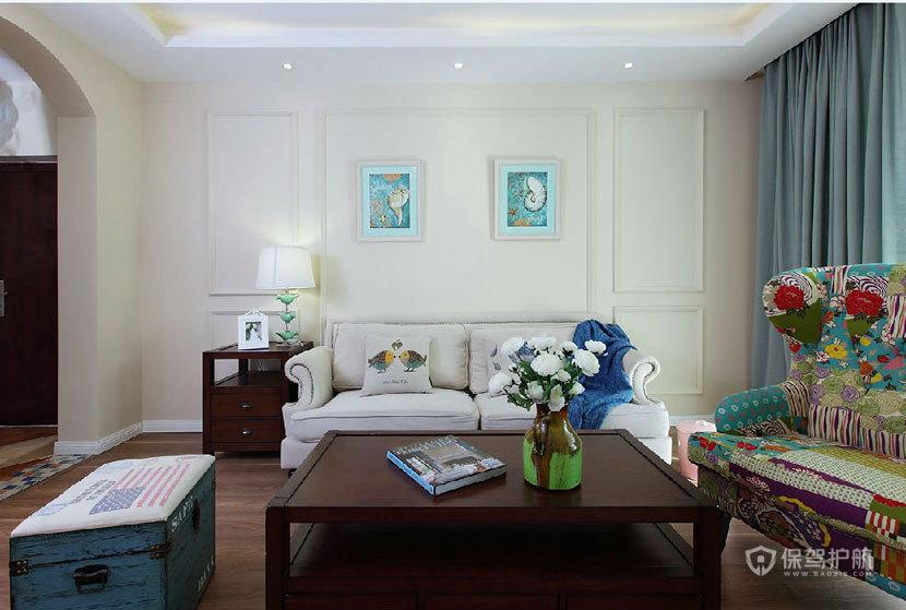 地中海风格公寓两室一厅客厅背景墙装修效果图