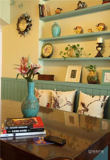 地中海风格公寓20平客厅墙面置物架软装效果图