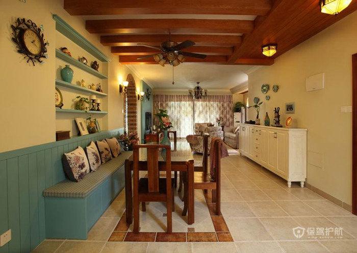 东南亚田园风格三室一厅客厅吊顶效果图