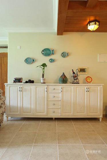 四室两厅田园美式风格40平客厅鞋柜软装效果图