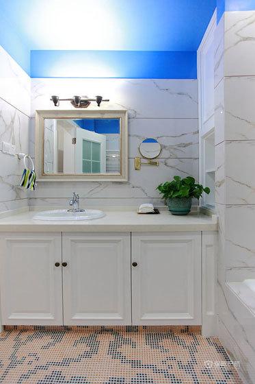 地中海风格复式楼20平米卫生间洗手台精美装修效果图