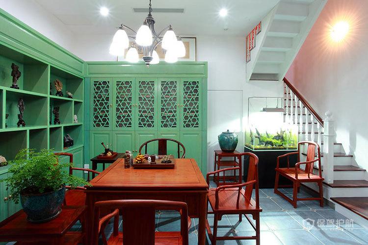混搭风格复式楼公寓客厅明式家具效果图