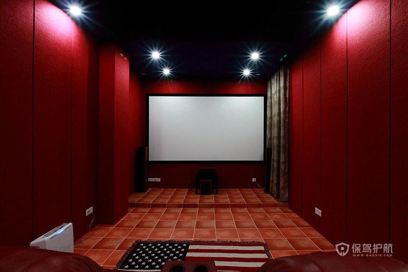 复古风格四室两厅大户型20平米家庭电影院效果图