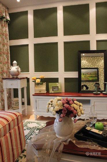 田园风格三室一厅30平米客厅门厅柜效果图