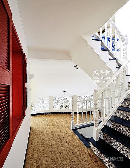 清新地中海混搭别墅走廊楼梯装修效果图