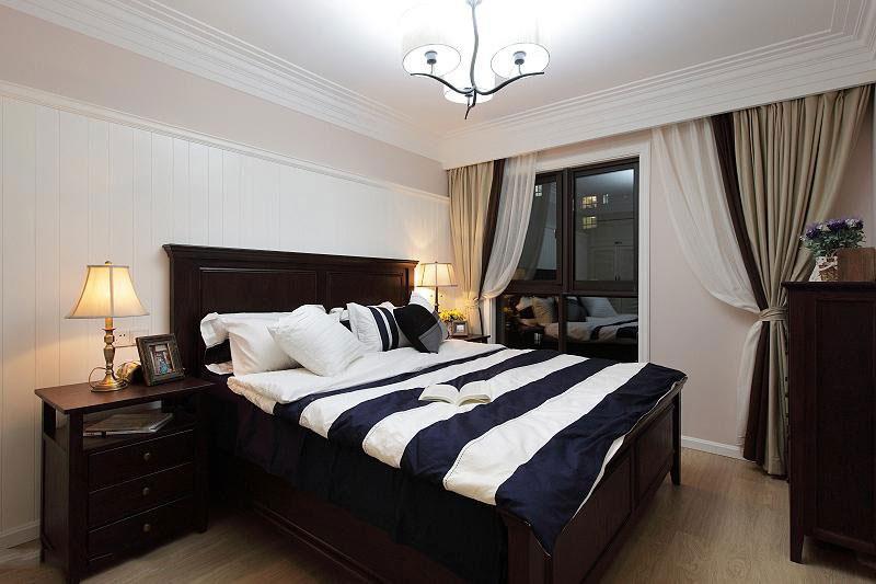 温暖舒适的新家 127平简约美式三居 ,三居室装修,简约风格,美式风格,舒适,120平米装修,卧室