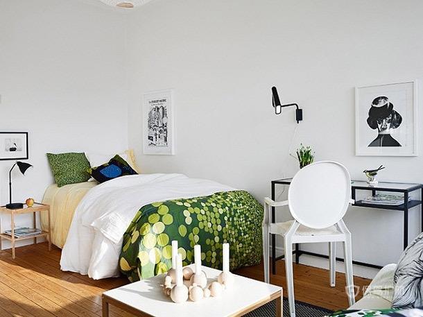 巧妙点缀空间 33平米翠绿单身公寓