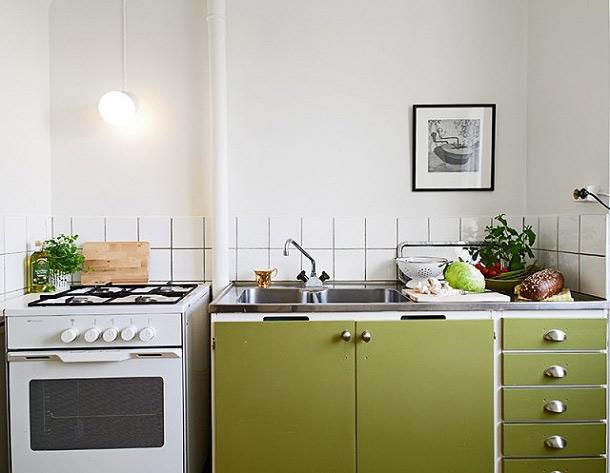 巧妙点缀空间 33平米翠绿单身公寓 ,小户型装修,超小户型,绿色,现代简约风格,日式风格,小清新,单身公寓,厨房