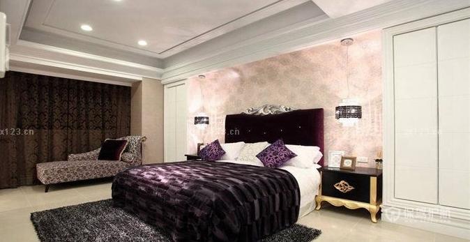 欧式室内装潢15平米卧室背景墙壁纸图