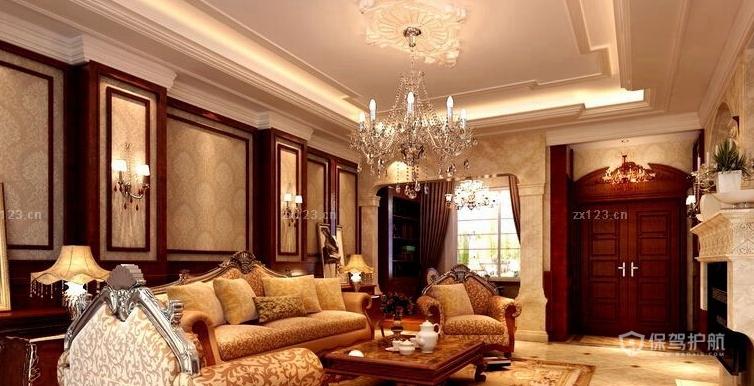 豪华欧式别墅客厅吊顶装修效果图