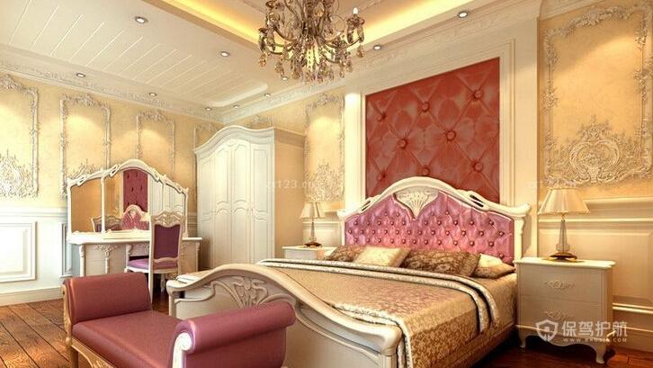 豪华欧式别墅卧室背景墙装修效果图