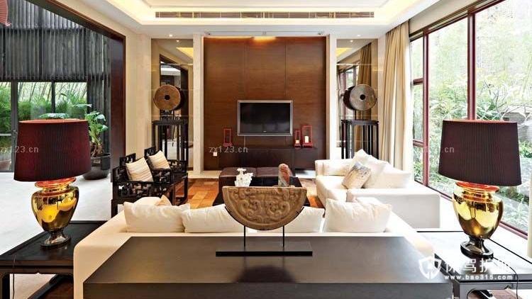 新中式风格家居客厅电视背景墙装修实景图