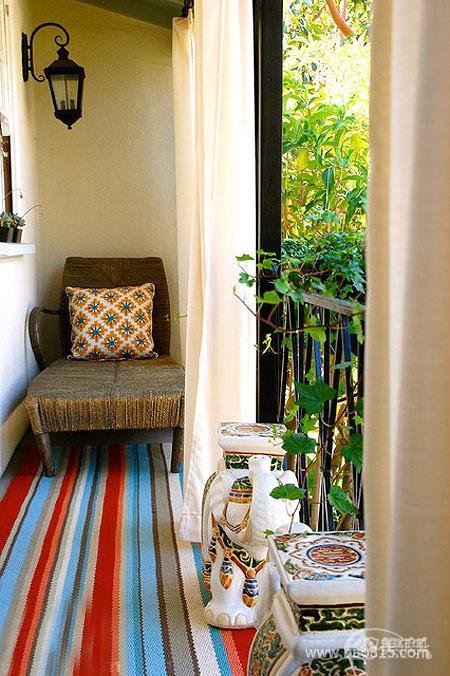 东南亚风格别墅20平米阳台地毯软装效果图