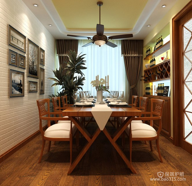 东南亚风格别墅餐厅背景墙装修效果图